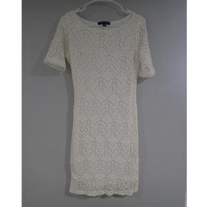 Sharagano lace mini dress with slip